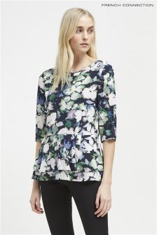 French Connection Blue Floral Peplum Top