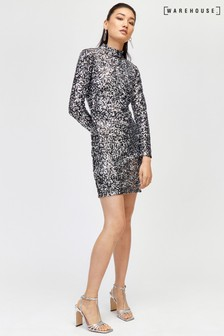Warehouse Silver Velvet Sequin High Neck Dress