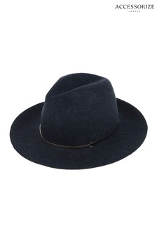Klobuk Accessorize Gold Bar Trim Fedora