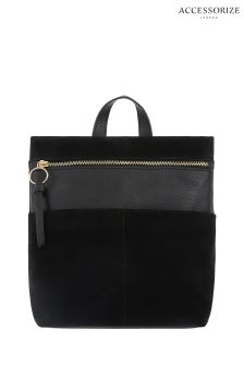 Accessorize Black Mini Zip Top Leather Backpack