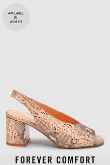 Туфли с треугольным вырезом, открытыми носком и ремешком на пятке