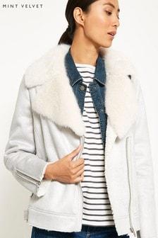 Mint Velvet Grey Fur Aviator Jacket