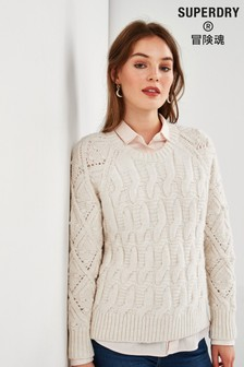 Superdry Cream Cable Knit Jumper