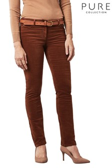 Pure Collection Brown Washed Velvet Jeans