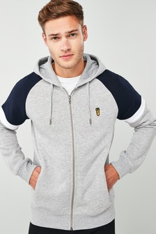 Block Badge Zip Through Hoody