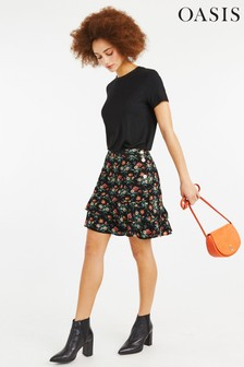 Oasis Black Willow Ditsy Tiered Skirt