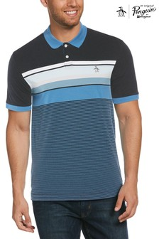 Original Penguin Blue Engineered Stripe Poloshirt