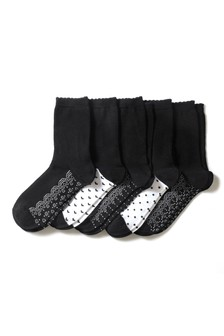 Lace Pattern Footbed Ankle Socks Five Pack