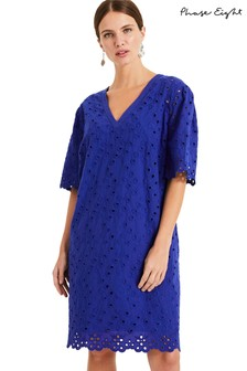 Phase Eight Blue Lilia Broidery Dress