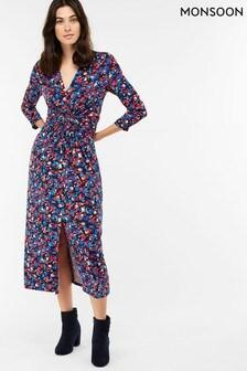 Monsoon Navy Betty Print Midi Dress