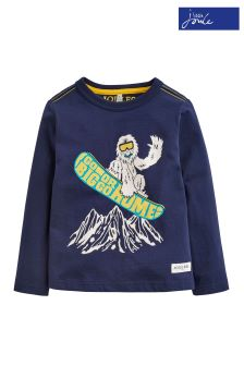 Joules Navy Yeti Screen Print Top