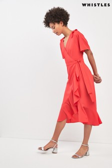 Whistles Flamingo Abigail Frill Wrap Dress