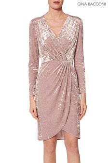 Gina Bacconi Pink Roksana Crushed Velvet Dress