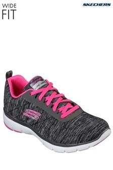 נעלי ספורט בגזרה רחבה של Skechers® דגם Flex Appeal 3.0 בצבע אפור