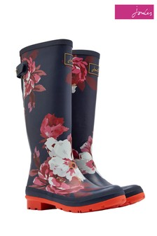 Joules Navy Floral Print Tall Welly