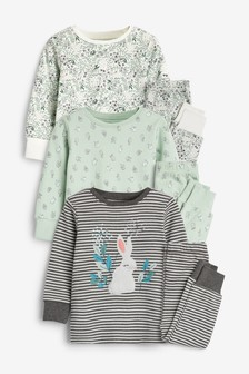3 Pack Embroidered Bunny Snuggle Pyjamas (9mths-8yrs)