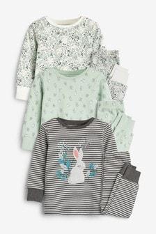 מארז 3 פיג'מות נעימות רקומות עם הדפס ארנב (9 חודשים-8 שנים)