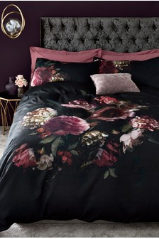 Cotton Sateen Dark Base Floral Duvet Cover And Pillowcase Set