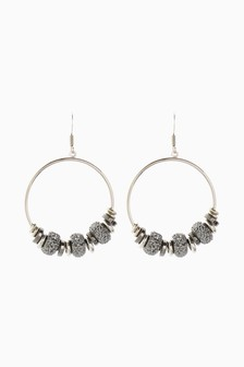 Pave Bead Circle Drop Earrings
