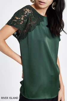 6505baa79a River Island Green Asymetric Sheer Top Tee