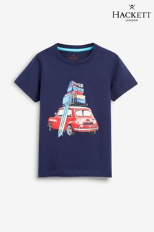 Hackett Blue Car Surf Short Sleeve Tee