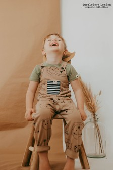 Turtledove London Organic Cotton Rust Cub Face Easy Fit Dungarees