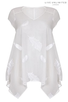 Live Unlimited Ivory Embroided Feather Hanky Top