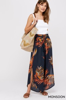 Monsoon Ladies Navy Hana Palm Print Trousers