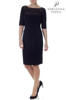Adrianna Pappel Black Partial Tuck Long Sleeve Dress