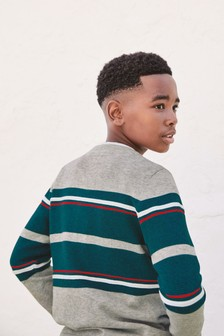 Ottoman Rib Chest Stripe Jumper (3-16yrs)