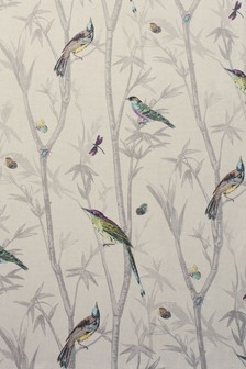 Chinoiserie Bird Trail Country Luxe Pencil Pleat Curtain Fabric Sample