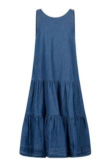 Molo Girls Blue Cotton Denim Dress