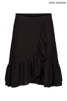 Sofie Schnoor Black Wrap Midi Skirt