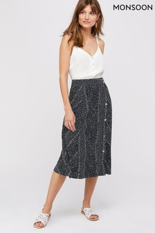 Monsoon Ladies Navy Itria Printed Midi Skirt