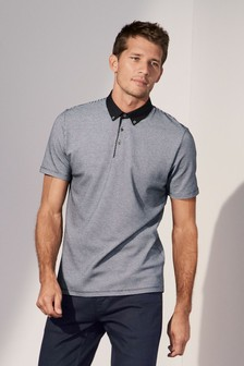 Woven Collar Textured Polo