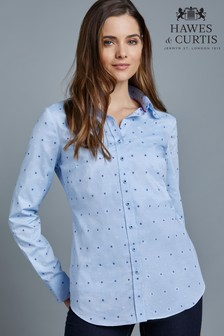 Hawes & Curtis Blue Embroidered Flowers Shirt