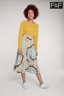 F&F Multi Scarf Print Pleated Skirt