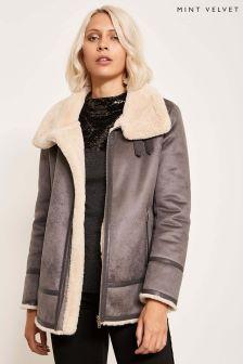 Mint Velvet Grey Aviator Jacket