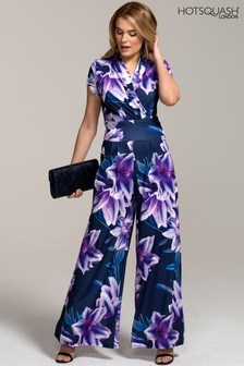 HotSquash Navy Lilies Wide Leg Jumpsuit With Cap Sleeve