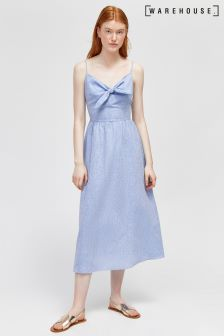 Warehouse  Blue Chambray Tie Front Midi Dress