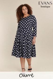 Evans Navy Curve Spot Dress