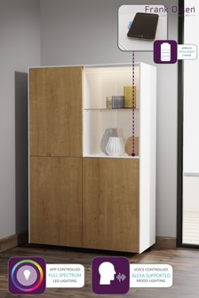 Frank Olsen Smart LED White and Oak Display Cabinet