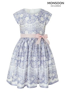 Monsoon Lilac Otylia Lace Print Dress