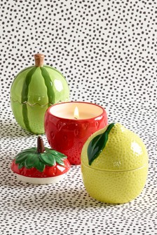 Set of 3 Ceramic Fruit Shaped Candles