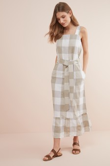 Linen Blend Ruffle Detail Dress