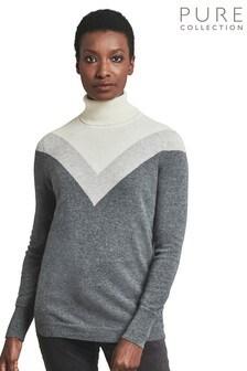 Pure Collection Grey Cashmere Boyfriend Polo Neck Sweater