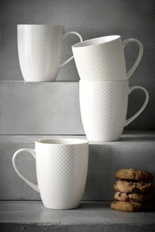 Set of 4 White Textured Mugs