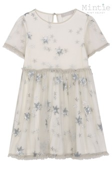 Mintie by Mint Velvet Grey Embroidered And Sequin Star Party Dress