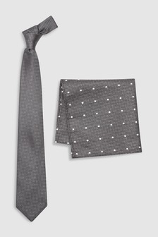 Signature Spot Silk Tie And Pocket Square Set