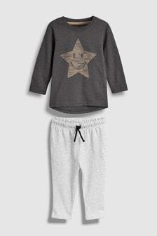 Conjunto de camiseta de manga larga y pantalones de chándal con sonrisa (3 meses-7 años)